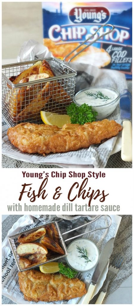 Young's Chip Shop Cod with Potato Wedges & Dill Tartare Sauce