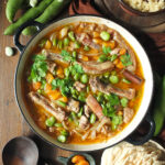 Slow Cooked Lamb Casserole with Broad Beans and Apricots