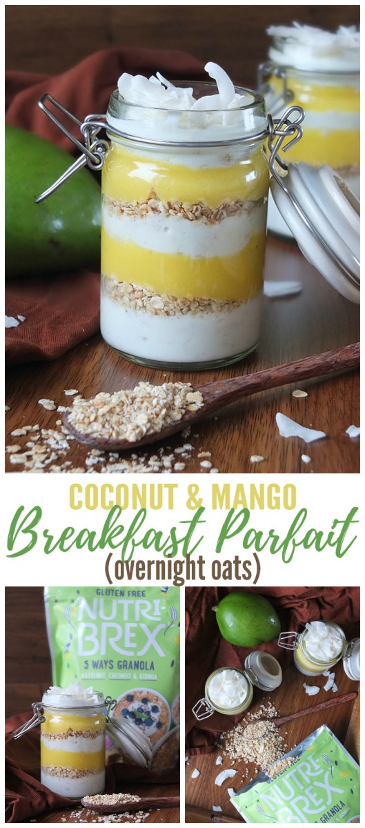 Coconut and Mango Breakfast Parfait / Overnight Oats