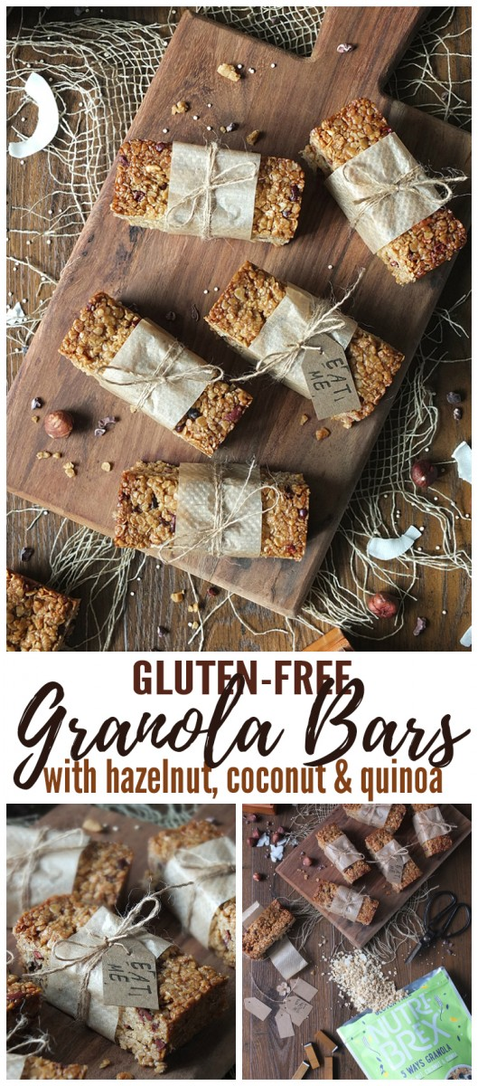 Gluten- Free Granola Bars with Hazelnut, Coconut & Quinoa