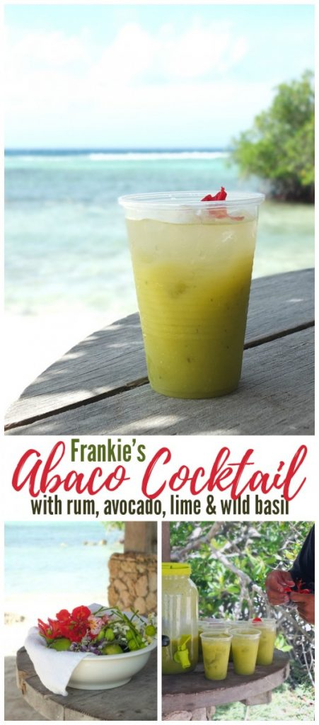 Frankie's Abaco Cocktail with rum, avocado, lime and wild basil