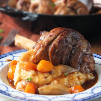 Slow Cooked Lamb Shanks with Vegetables & Gravy