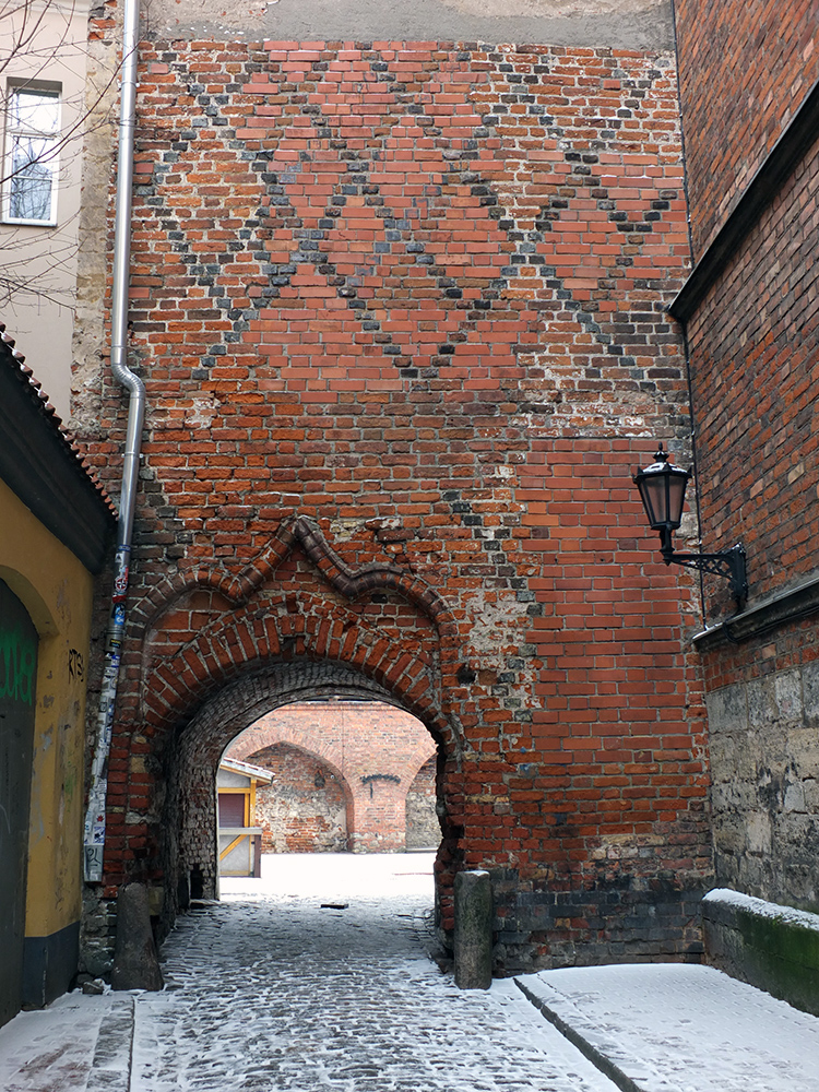 The narrow Jana Seta leading to Johns Courtyard Old Town Riga