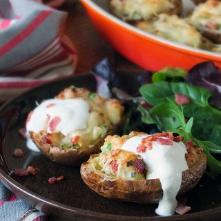 Twice Baked Potatoes with Bacon and Soured Cream