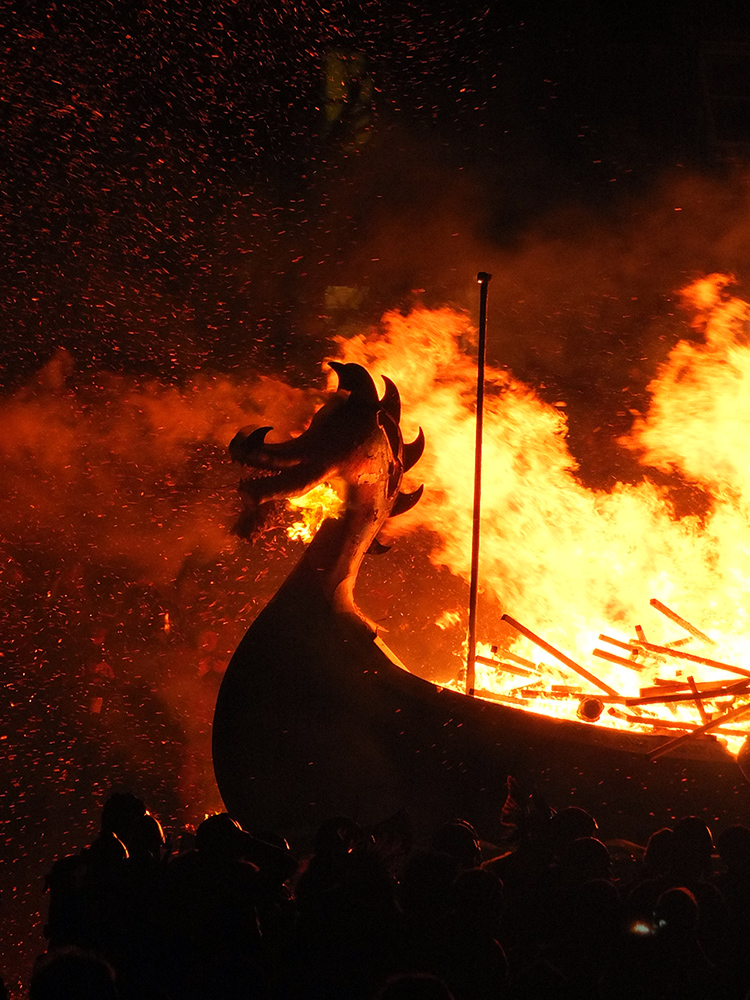 Image of the Up Helly Aa 2018 galley on fire in Shetland.