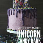 This three layer vanilla buttermilk 'Midnight Magic' Unicorn cake is a perfect centrepiece for a unicorn themed party. #unicorn #unicorncake #rainbowcake