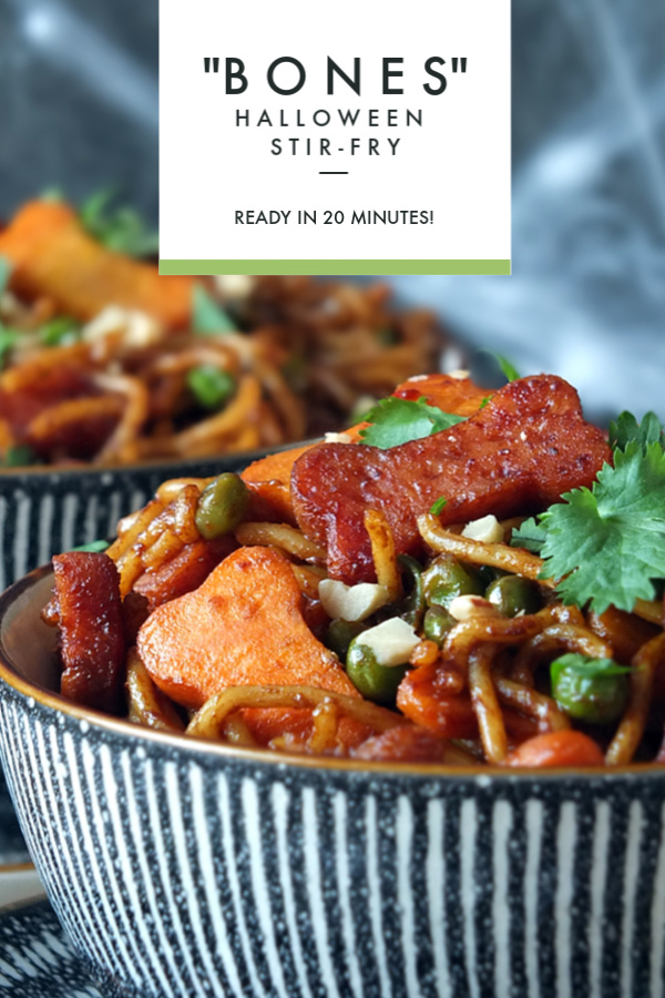 Halloween Stir-Fry with SPAM and SKIPPY #halloween #stirfry #noodles #peanutbutter