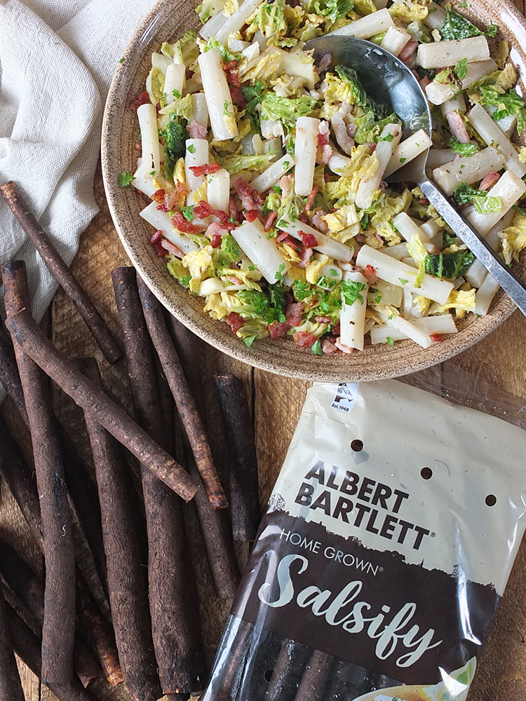 Image of Albert Barlett Salsify packet along side the raw salsify and finished salsify side dish.