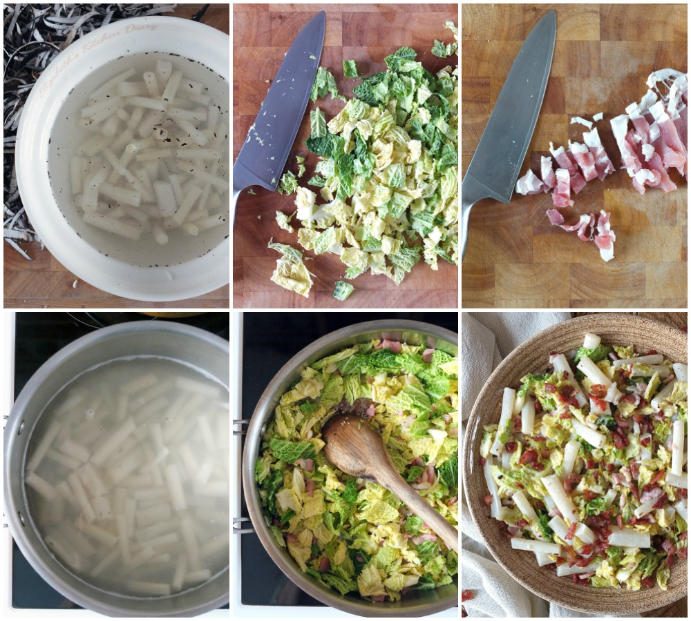 Step by step collage how to make salsify and cabbage.