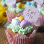 Easy Easter Egg Hunt Cupcake Recipe with mini candy eggs