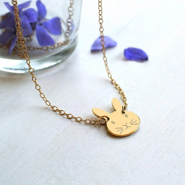 Personalised Gold Little Bunny Necklace £28