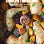 This lazy chicken tray bake takes five minutes to prep and only has five ingredients! It's a complete meal in one tray bake, and there's only one pan to wash up afterwards! #chickentraybake #sheetpanchicken #chicken
