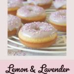 In this easy recipe, lemon zest, lemon extract and lavender flowers are combined to make a delicious, fluffy, moist, perfectly baked doughnut with a lavender icing sugar glaze. #doughnuts #bakeddoughnuts #lavender #lemondoughnut #lemondonut #bakeddonut