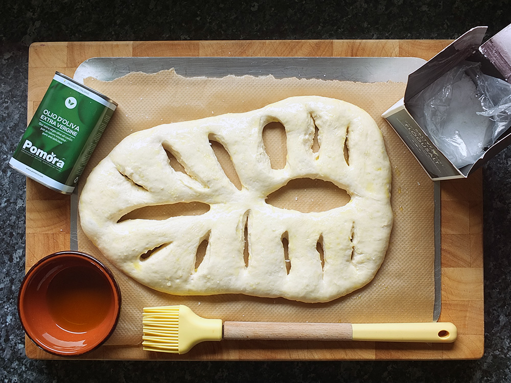 brush fougasse dough with olive oil
