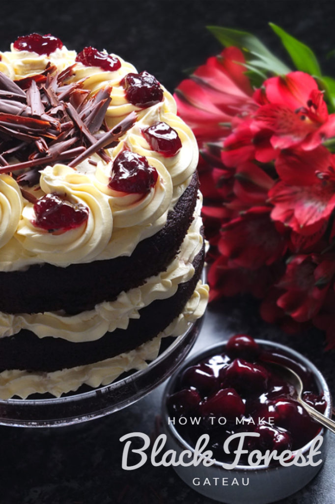 Three layers of rich chocolate cake drizzled with cherry brandy sandwiched together with sweetened whipped cream and black cherry conserve. The cake is finished with more cream and some dark chocolate curls. #chocolate #chocolatecake #blackforestcake #baking