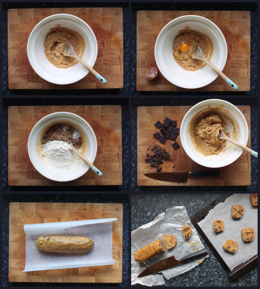 How to make peanut butter and chocolate chip cookies step by step collage