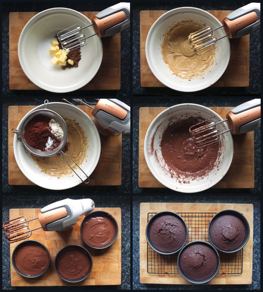 How to make the cake for a black forest gateaux step by step collage image