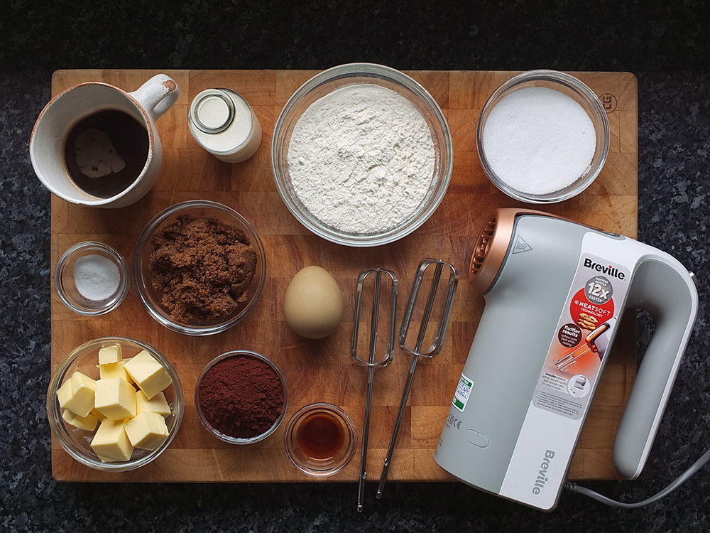 Ingredients for chocolate sponge cake with Breville Heatsoft hand mixer