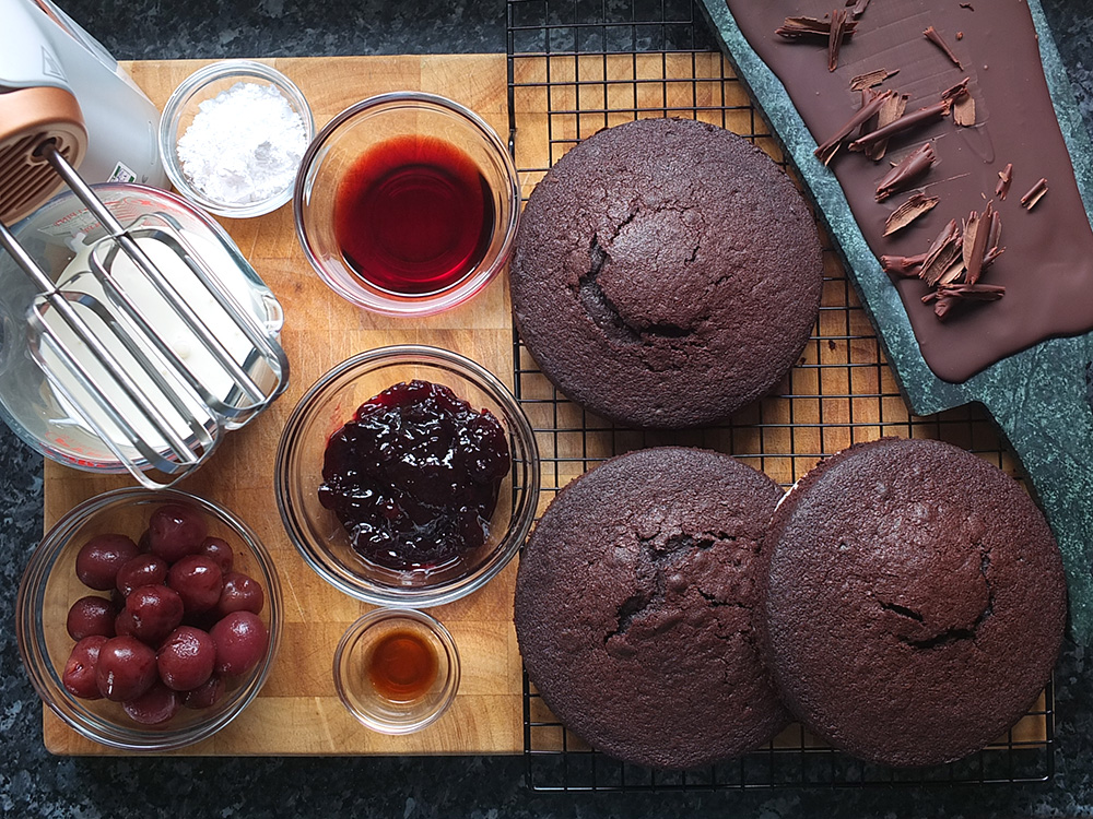 Ingredients to assemble a black forest cake