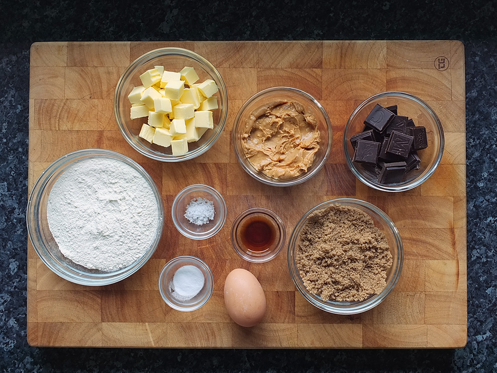 ingredients for peanut butter and chocolate chunk cookies image