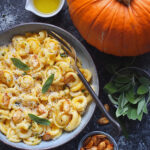 Creamy Pumpkin Pasta with Fried Sage and Chilli Pumpkin Seeds