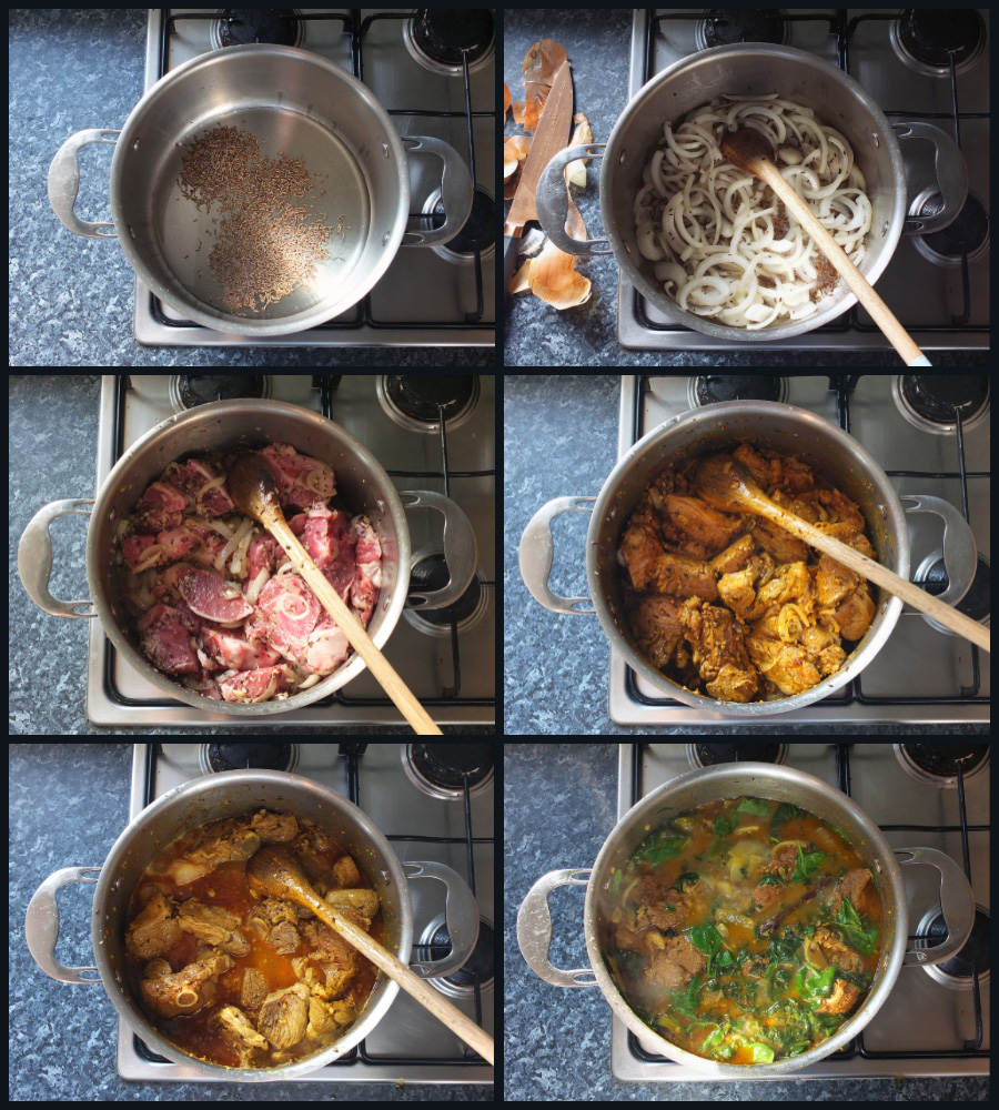 How to make Lamb and Spinach Karahi Curry - step by step collage