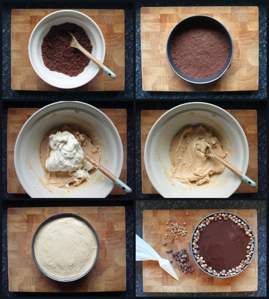 How to make peanut butter cheesecake with a chocolate base