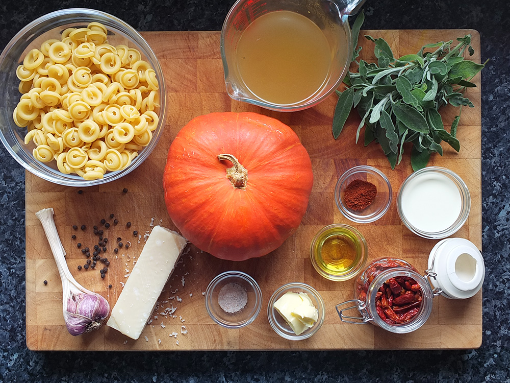 Ingredients for roasted pumpkin pasta image