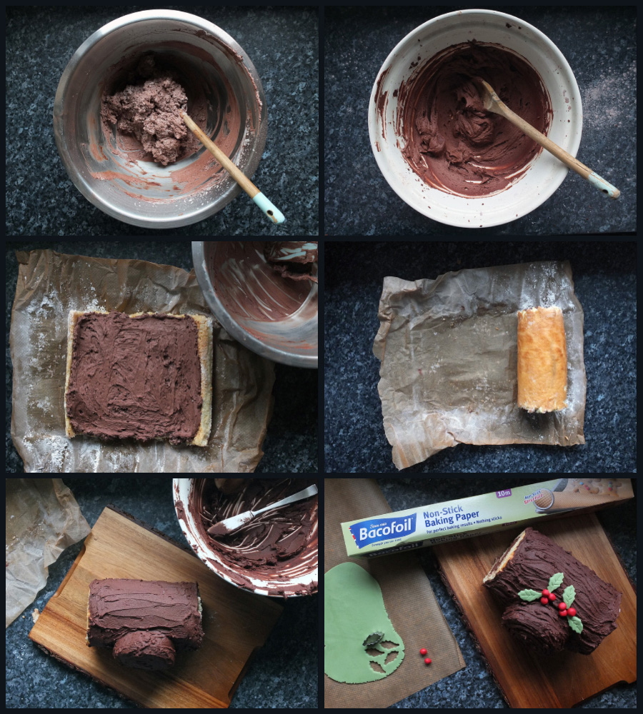 How to assemble a Buche de Noel collage image