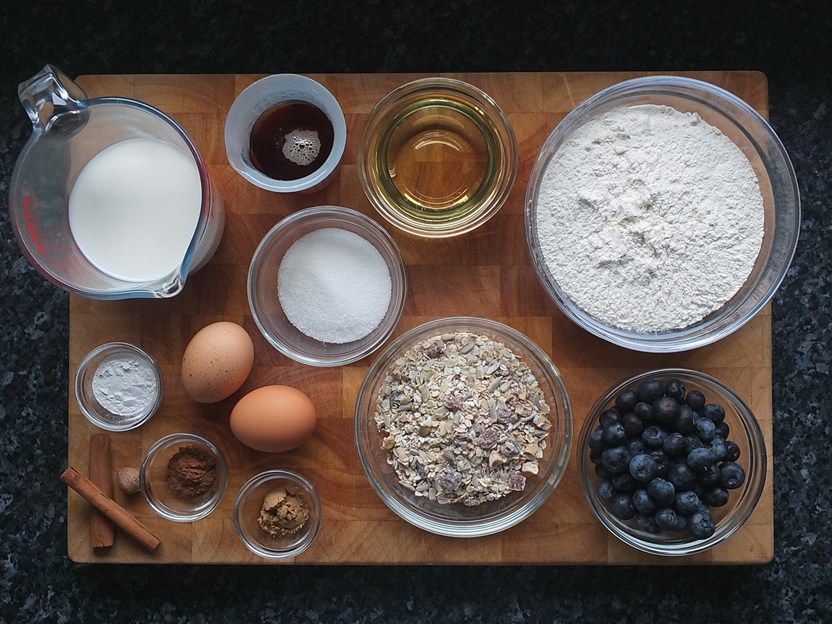 Ingredients for blueberry muesli muffins