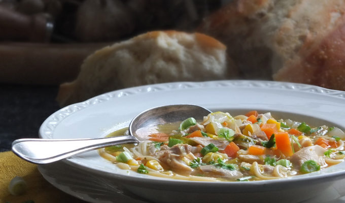 Leftover Roast Chicken Noodle Soup