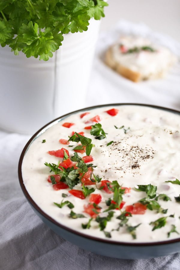 Garlic Sauce with Sour Cream and Tomatoes
