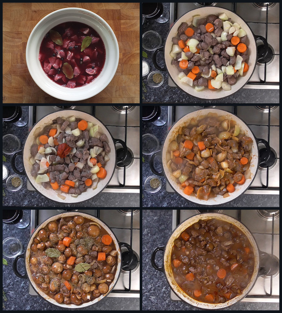 how to make bourguignon step by step collage