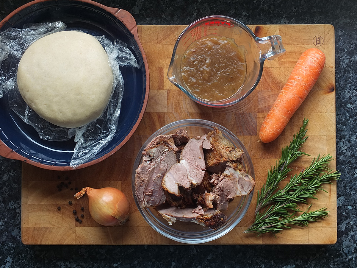 Ingredients for roast lamb and rosemary pie image
