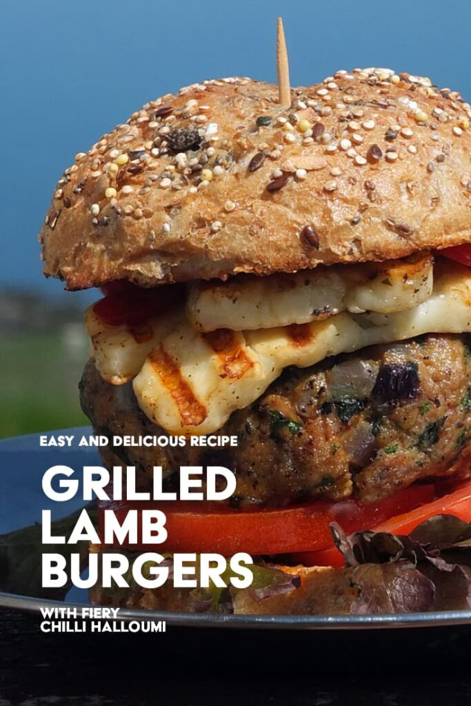 pinterest image of lamb burger with text overlay