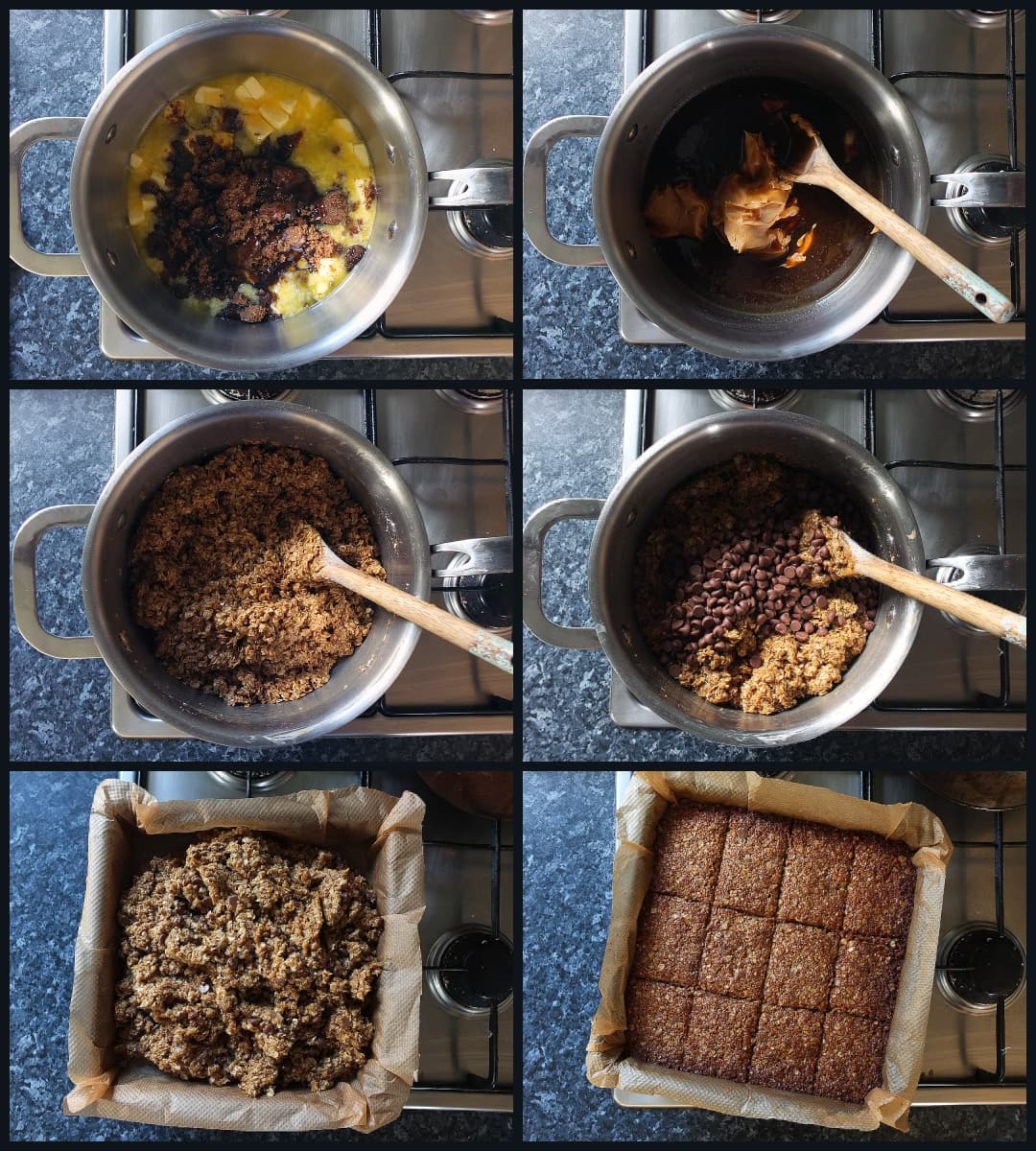 collage how to make peanut butter flapjacks
