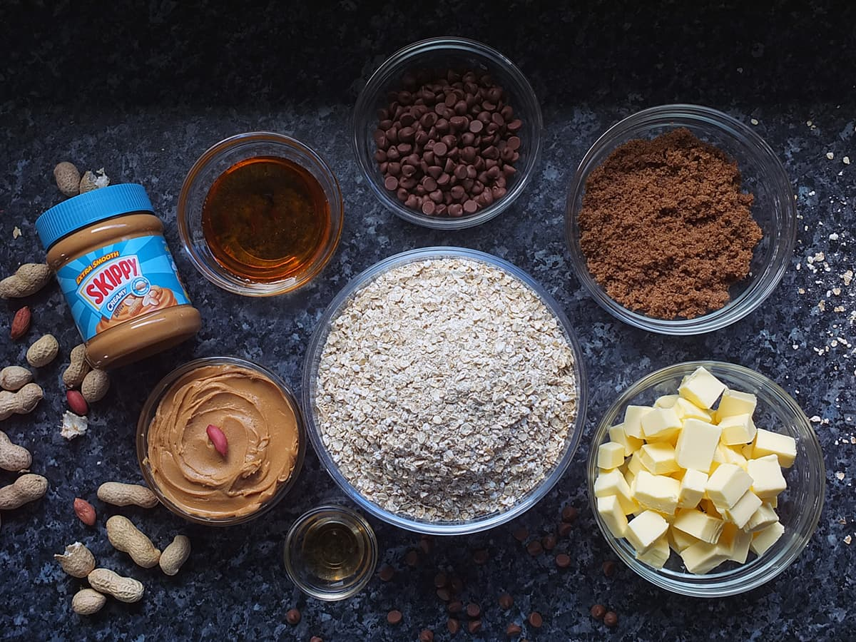 image of ingredients for peanut butter flapjacks laid out on countertop