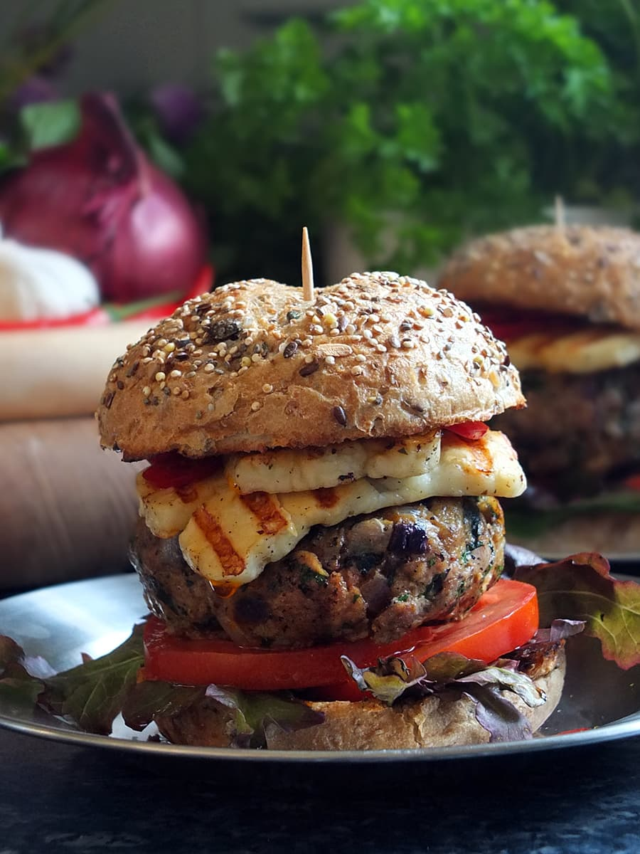 Grilled lamb and halloumi burger on a bun image
