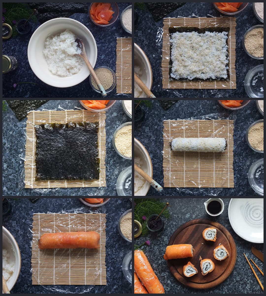 step by step collage how to make smoked salmon uramaki