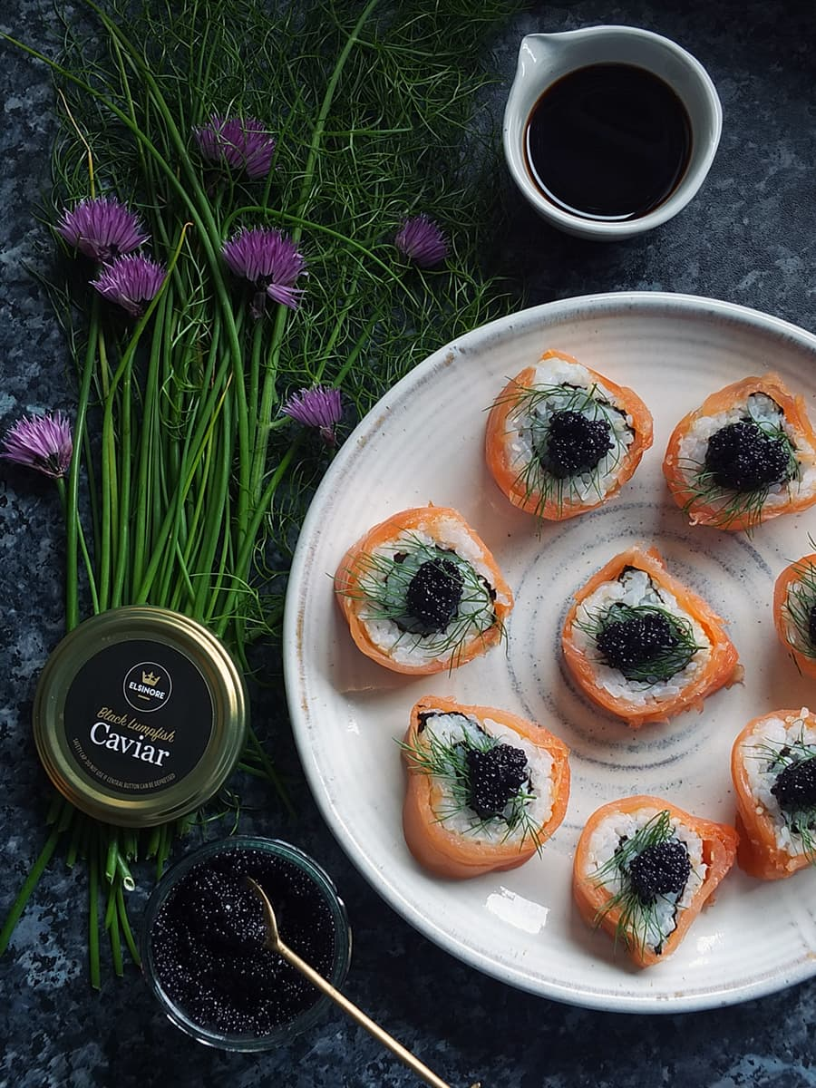 top down image of sushi topped with lumpfish caviar