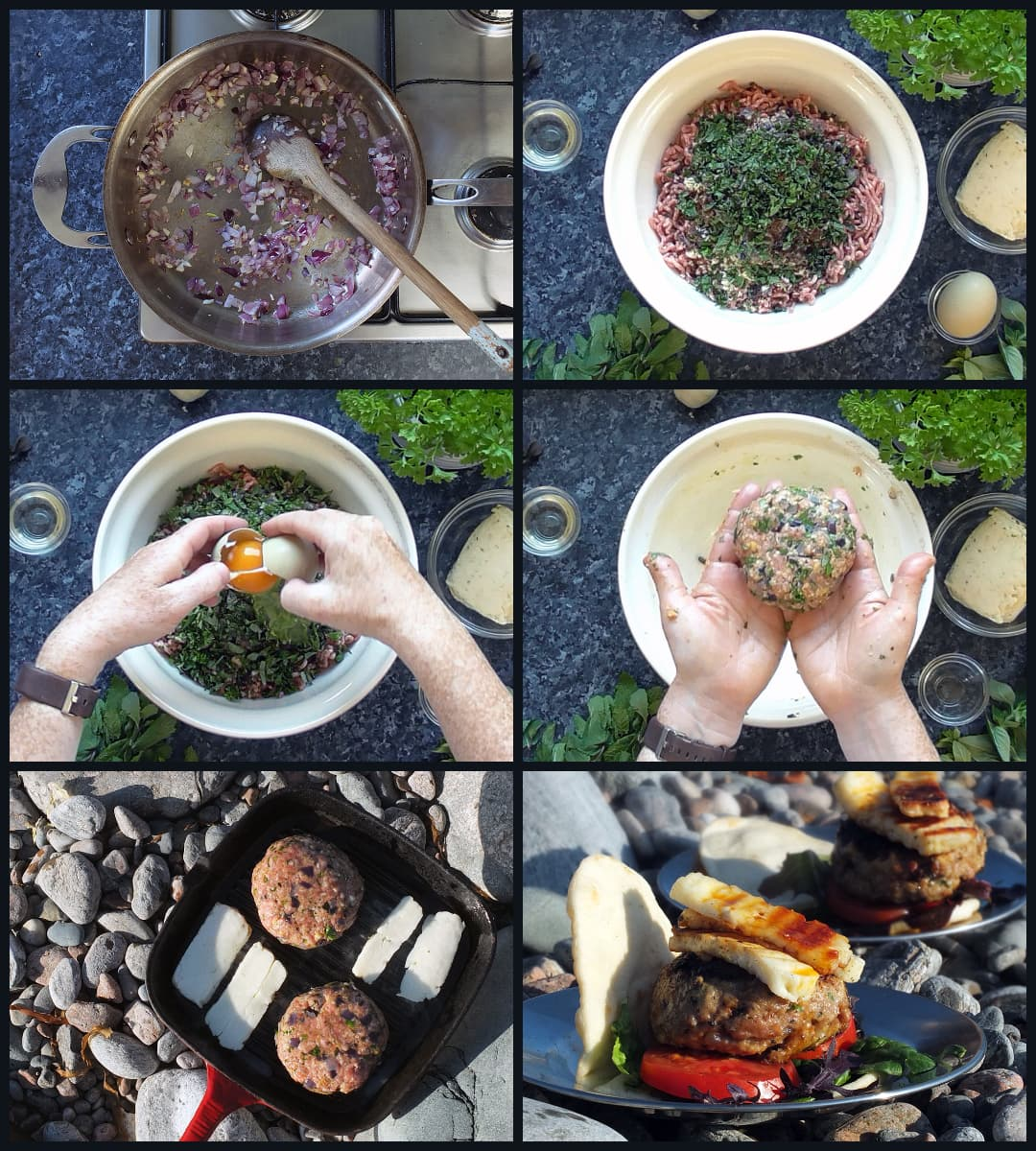 step by step collage how to make lamb burgers