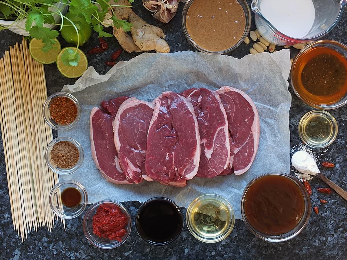Ingredients for lamb skewers image