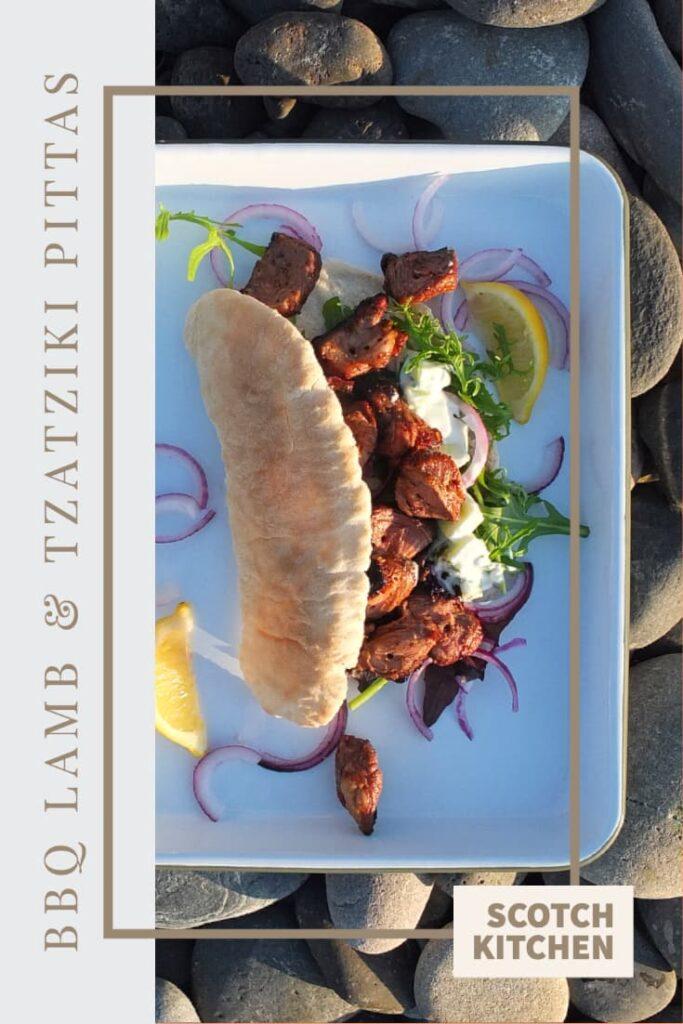 BBQ Lamb pitta recipe pin image