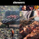 Pinterest pin of bbq lamb skewers recipe