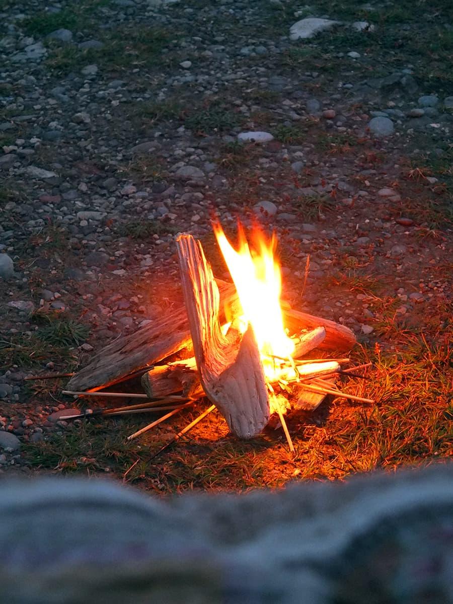 Tiny campfire from the van door picture