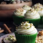 Pinterest image of spiced courgette cupcakes with cream cheese frosting.
