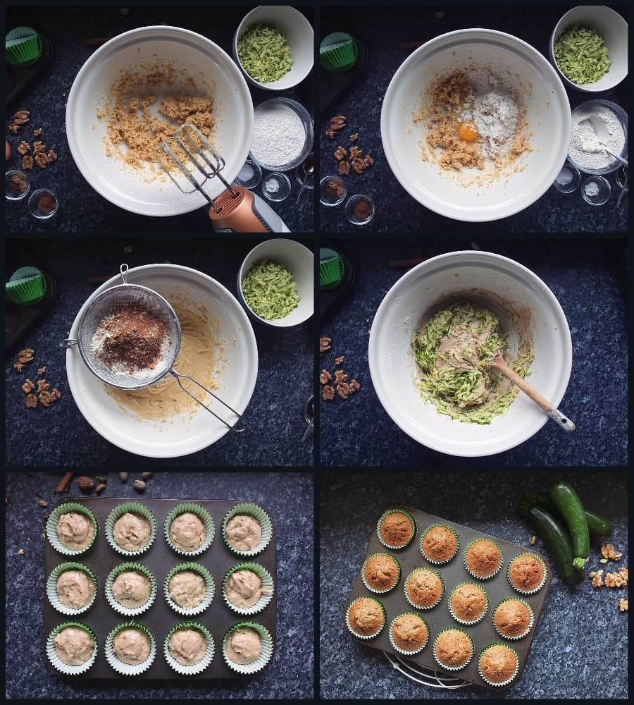 How to make spiced zucchini cupcakes step by step collage image.