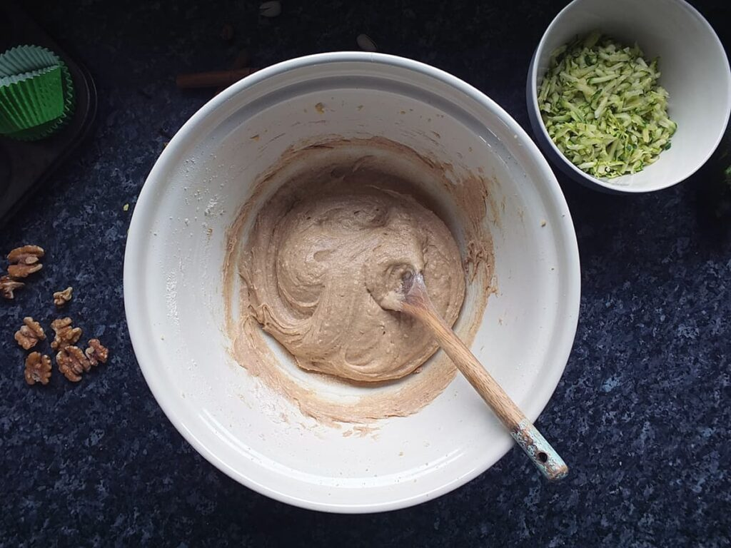 Photo of mixing bowl with cupcake batter in it.