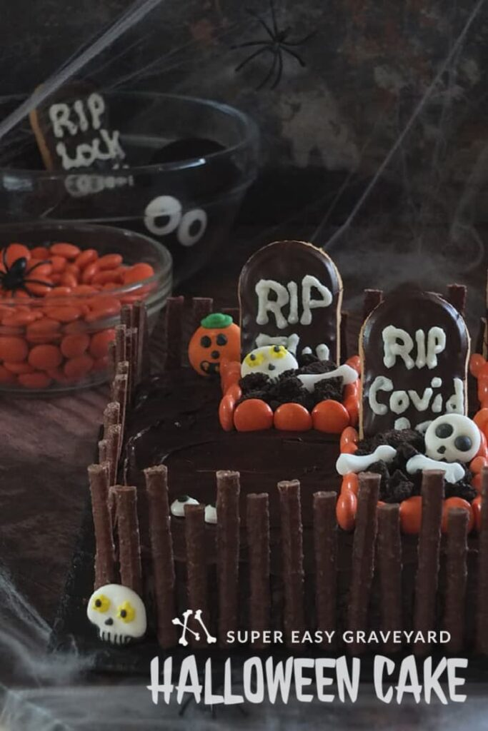 Pinterest pin image of Halloween cake recipe.