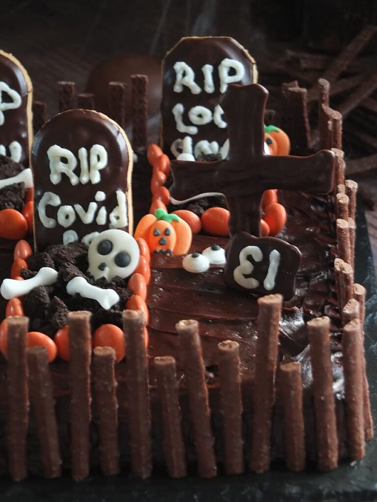 Close up image of detail in Halloween cake.